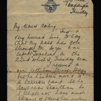 Letter from Harry Brooks to his wife